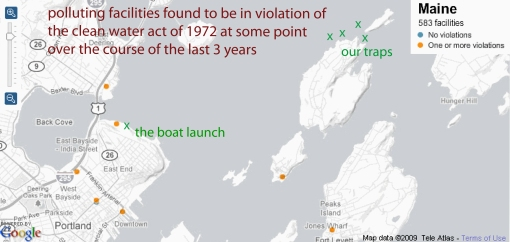 Pollution violations around our traps in Casco Bay